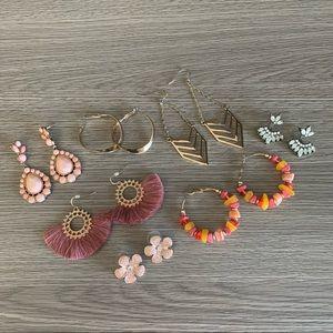 Pack of 7 Earrings - hoops, dangle, studs